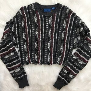 Cropped and Frayed Vintage Sweater